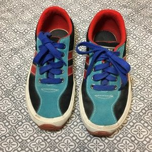 VTG 90s DKNY SPORTY TEAL/NAVY/RED  LACE UP SNEAKER